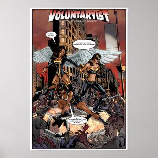 Voluntaryist versus Statist Zombies Poster - Warm