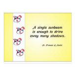 Volunteer Appreciation Dog Face and Sunbeam Quote Postcard