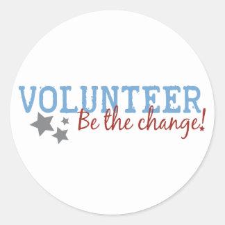 Volunteer Be The Change Classic Round Sticker