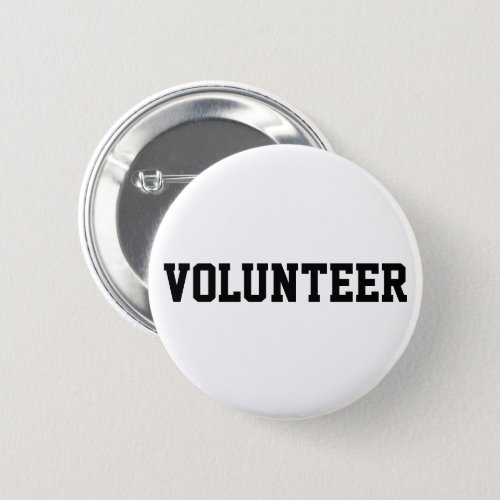 Volunteer Black and White Button