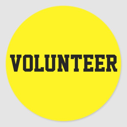 Volunteer Black and Yellow ID Event Badge Classic Round Sticker