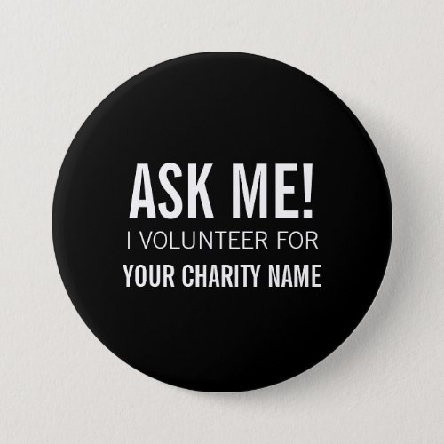 VOLUNTEER BUTTONS PINS  BLACK