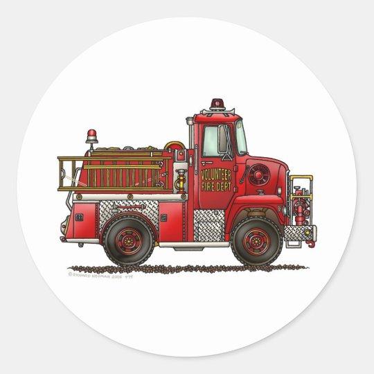 Volunteer Fire Truck Firefighter Classic Round Sticker