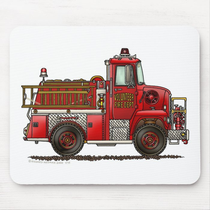 Volunteer Fire Truck Firefighter Mouse Pad