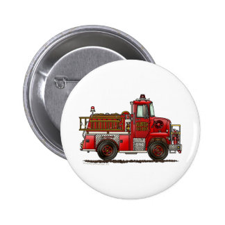 Volunteer Fire Truck Firefighter Pinback Button