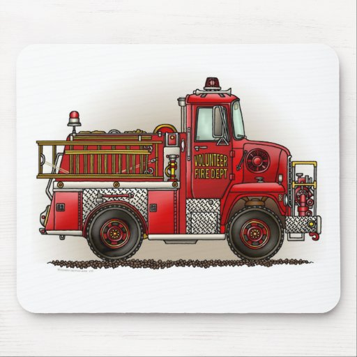 Volunteer Fire Truck Mouse Pad