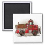 Volunteer Fire Truck Square Magnet