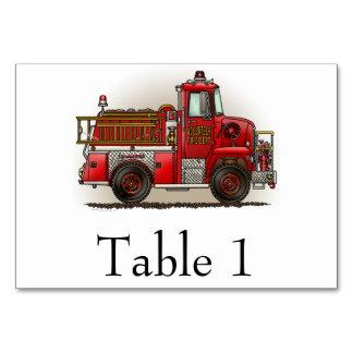 Volunteer Fire Truck Table Card