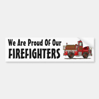 """""""Volunteer Fire Truck, We Are Proud Of Our, FIRE.. Bumper Sticker"""