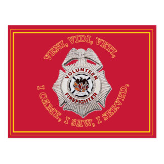 Volunteer Firefighter Badge Postcard