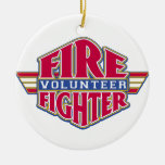 Volunteer Firefighter Double-Sided Ceramic Round Christmas Ornament