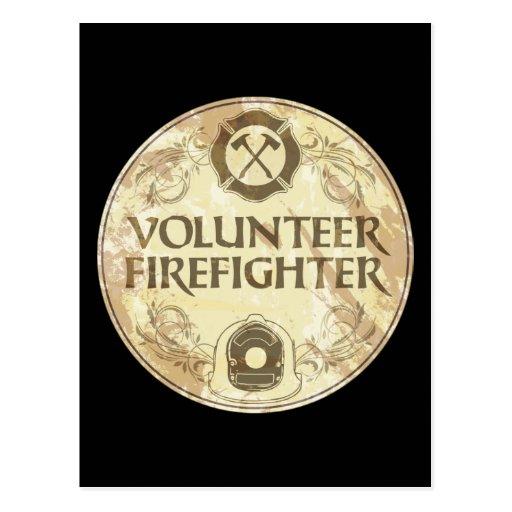 Volunteer Firefighter Grunge Postcards