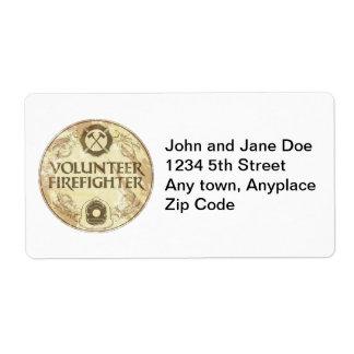 Volunteer Firefighter Grunge Shipping Label