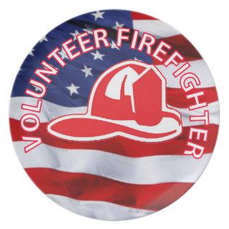 Volunteer Firefighter Logo Party Plate