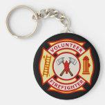 Volunteer Firefighter Maltese Cross Basic Round Button Keychain