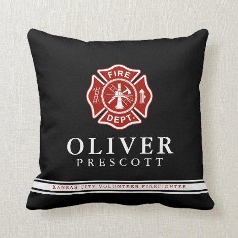 Volunteer Firefighter | Maltese Cross Symbol Black Throw Pillow