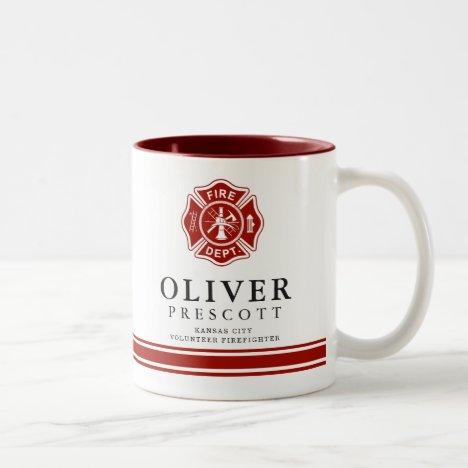 Volunteer Firefighter | Maltese Cross Symbol Two-Tone Coffee Mug