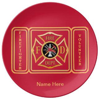 Volunteer Firefighter Porcelain Plates