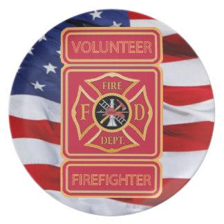 Volunteer Firefighter Shield Dinner Plate