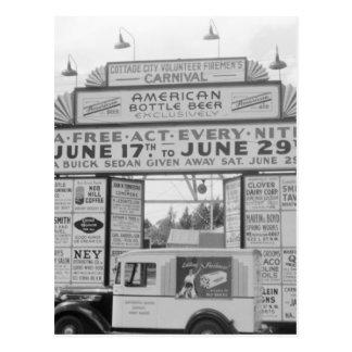 Volunteer Fireman Carnival, 1940s Postcard