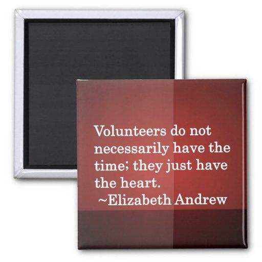 Volunteer Heart 2 Inch Square Magnet