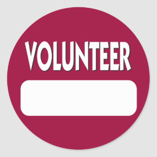 Volunteer Name Tag Badge Classic Round Sticker