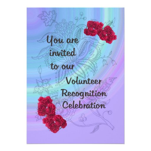 "Volunteer Recognition Invitation Red carnations 5"" X 7"" Invitation ..."