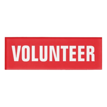 Professional Business Volunteer red and white magnetic tags