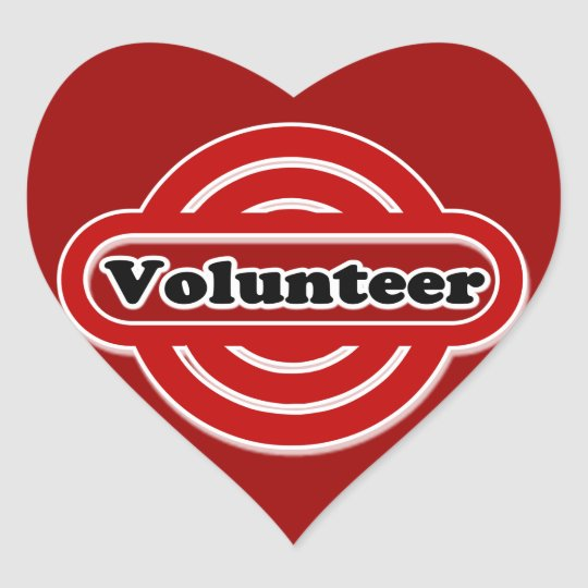 Volunteer Tshirts, Volunteer Buttons and more Heart Sticker