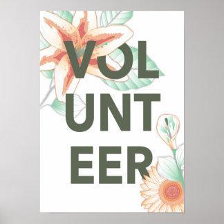 volunteer vintage floral poster