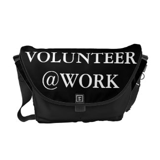 Volunteer @Work Funny Black White Messenger Bag
