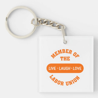 Volunteering to help others is a labor of love square acrylic keychain