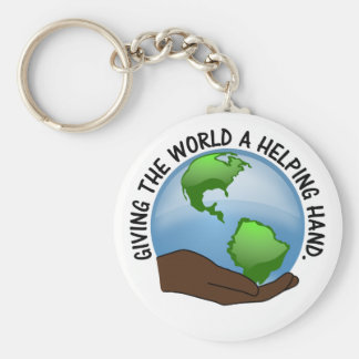 Volunteers are the world's helping hands basic round button keychain