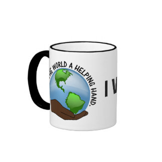 Volunteers are the world's helping hands ringer coffee mug