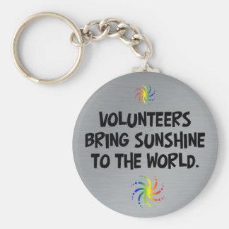 Volunteers bring sunshine to the world basic round button keychain