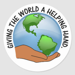 Volunteers give the world a helping hand classic round sticker