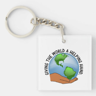 Volunteers give the world a helping hand Single-Sided square acrylic keychain