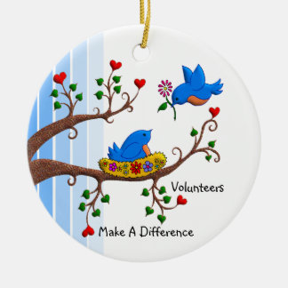 Volunteers Make A Difference Double-Sided Ceramic Round Christmas Ornament