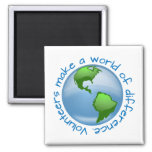 Volunteers Make a World of Difference 2 Inch Square Magnet