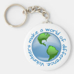 Volunteers Make a World of Difference Basic Round Button Keychain
