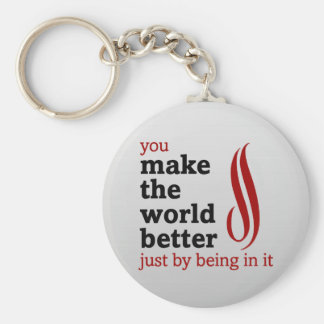 Volunteers make the world better by being in it basic round button keychain