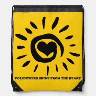 Volunteers shine from the heart drawstring backpack