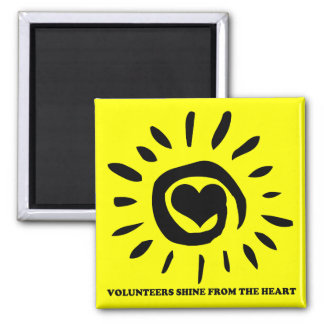 Volunteers shine from the heart light up the world 2 inch square magnet