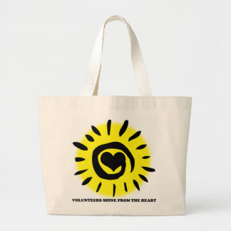 Volunteers shine from the heart light up the world large tote bag