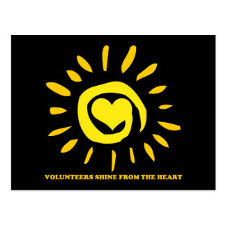 Volunteers shine from the heart light up the world postcard