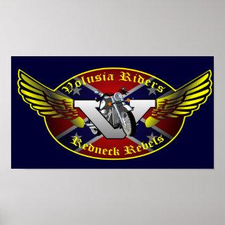 Volusia Riders Original Redneck Rebels Logo Poster