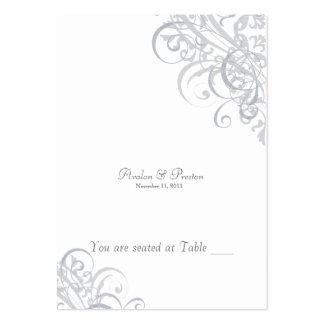 Voluta blanca y de plata barroca exquisita tarjetas de visita grandes