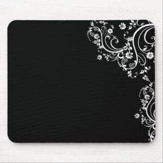 voluta blanco y negro de la flor tapete de raton