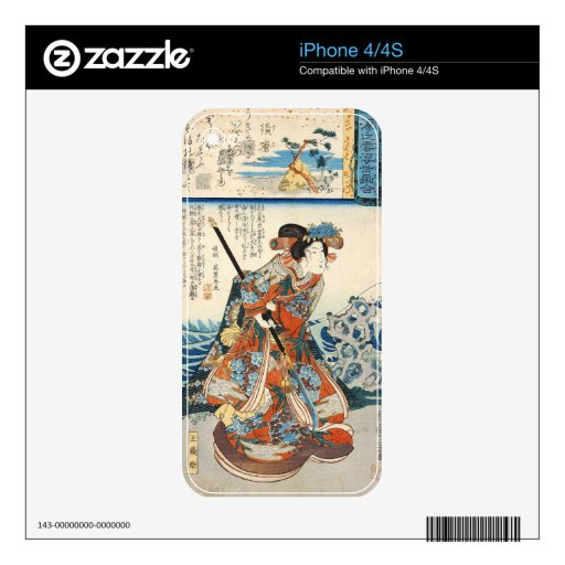 Voluta clásica de Utagawa del geisha del ukiyo-e d Skins Para iPhone 4