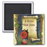Voluta de la Feliz Año Nuevo Imán De Frigorífico